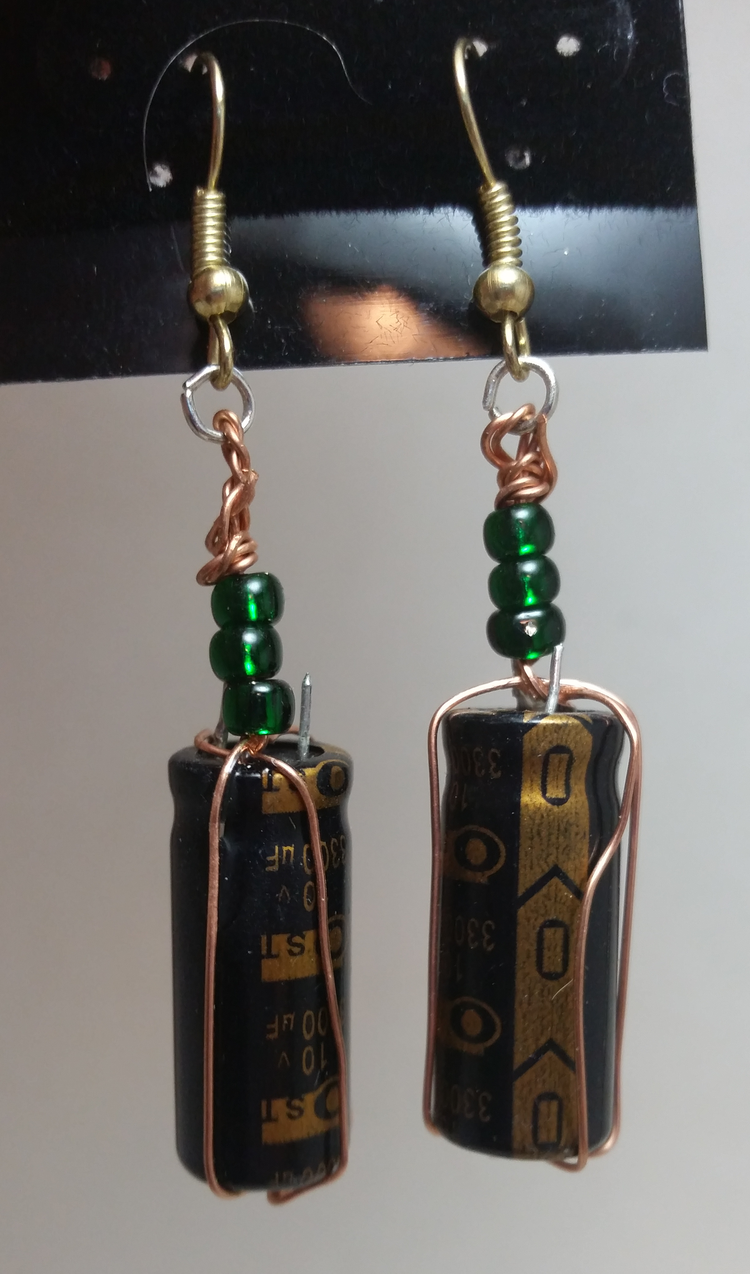 NEW! Wire wrapped capacitor earrings